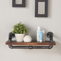 "Armen Living 24"" Isadore Industrial Walnut Wood Floating Wall Shelf in Silver Finish"