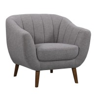 Armen Living Javeline Mid-Century Contemporary Chair in Light Gray Linen and Walnut Legs