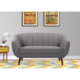 Armen Living Javeline Mid-Century Contemporary Loveseat in Light Gray Linen and Walnut Legs
