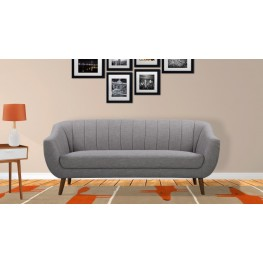 Armen Living Javeline Mid-Century Contemporary Sofa in Light Gray Linen and Walnut Legs