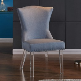 Armen Living Jade Modern and Contemporary Dining Chair in Blue Fabric with Nailheads and Acrylic Legs
