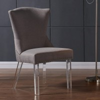 Armen Living Jade Modern and Contemporary Dining Chair in Taupe Fabric with Nailheads and Acrylic Legs
