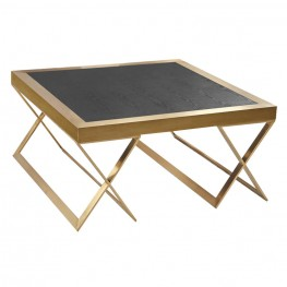 Jasper Modern Coffee Table In Gold With Black Wood Veneer Top