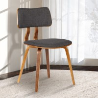 Armen Living Jaguar Mid-Century Dining Chair in Walnut Wood and Charcoal Fabric