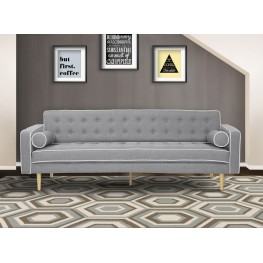 Armen Living Kennedy Mid-Century Futon Sofa Bed in Gray Button Tufted Fabric with Walnut Legs