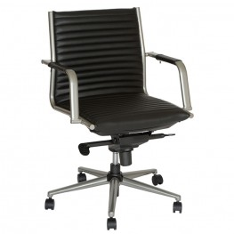 Leo Modern Office Chair In Black and Gray Metal