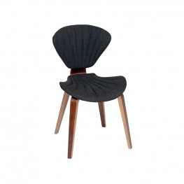 Lisa Modern Chair In Charcoal Fabric and Walnut Wood