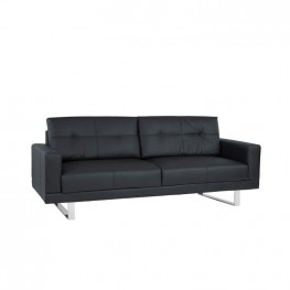 Armen Living Lincoln Mid-Century Sofa in Black Tufted Faux Leather with Chrome Legs