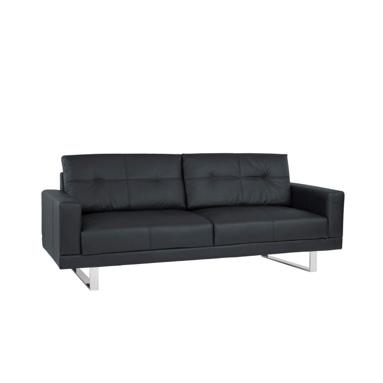 Armen Living Lincoln Mid Century Sofa In Black Tufted Faux Leather With  Chrome Legs