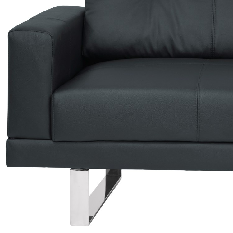 Armen Living Lincoln Mid Century Sofa In Black Tufted Faux Leather