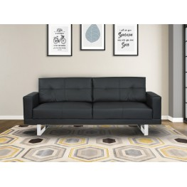 Armen Living Lincoln Mid-Century Futon Sofa Bed in Black Tufted Faux Leather with Chrome Legs
