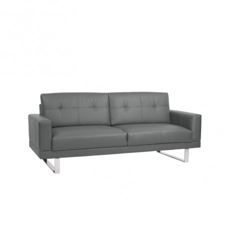 Armen Living Lincoln Mid-Century Sofa in Gray Tufted Faux Leather with Chrome Legs