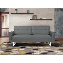Armen Living Lincoln Mid-Century Futon Sofa Bed in Gray Tufted Faux Leather with Chrome Legs