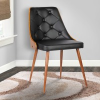 Armen Living Lily Mid-Century Dining Chair in Walnut Wood and Black Pu