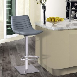 Luna Barstool in Brushed Stainless Steel with Gray Pu upholstery