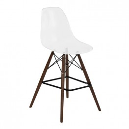 Armen Living Lynx Mid-Century Barstool in Walnut Wood with Durable Molded Plastic Clear Seat