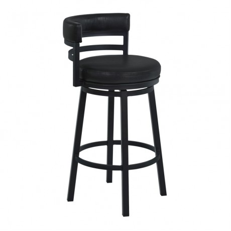 "Armen Living Madrid 26"" Counter Height Metal Swivel Barstool in Ford Black Pu and Black Finish"