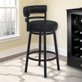 "Madrid 26"" Counter Height Metal Swivel Barstool in Ford Black Pu and Black Finish"