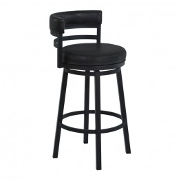 "Madrid 30"" Bar Height Metal Swivel Barstool in Ford Black Pu and Black Finish"