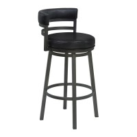 """Armen Living Madrid 26"""" Counter Height Metal Swivel Barstool in Ford Black Pu and Mineral Finish"""