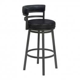 "Madrid 26"" Counter Height Metal Swivel Barstool in Ford Black Pu and Mineral Finish"