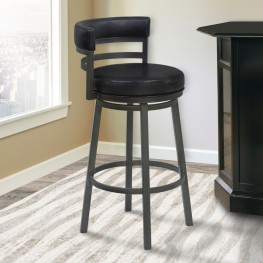 "Madrid 30"" Bar Height Metal Swivel Barstool in Ford Black Pu and Mineral Finish"