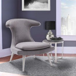 Armen Living Marilyn Chair in Brushed Steel finish with Mist Fabric upholstery