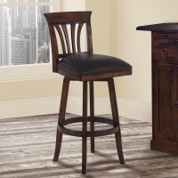 """Armen Living Madison 26"""" Counter Height Swivel Wood Barstool in Pecan Finish and Brown Pu"""