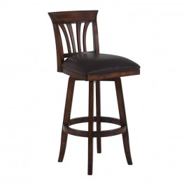 "Armen Living Madison 30"" Bar Height Swivel Wood Barstool in Pecan Finish and Brown Pu"