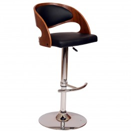 Malibu Swivel Barstool In Black Pu/ Walnut Veneer and Chrome Base