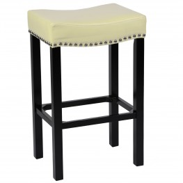 "Tudor 26"" Stool Cream Bonded Leather with Chrome Nails"