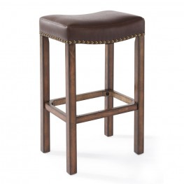 "Armen Living Tudor 26"" Counter Height Wood Backless Barstool in Chestnut Finish and Kahlua Pu"