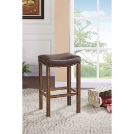 "Armen Living Tudor 30"" Bar Height Wood Backless Barstool in Chestnut Finish and Kahlua Pu"