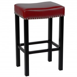 "Tudor 26"" Stool Red Bonded Leather with Chrome Nails"