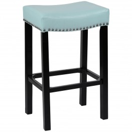 "Tudor 26"" Stool Sky Blue Bonded Leather with Chrome Nails"