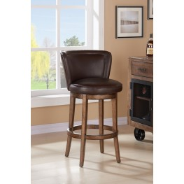 "Armen Living Lisbon 26"" Counter Height Swivel Wood Barstool in Chestnut Finish and Kahlua Pu"