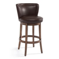 "Armen Living Lisbon 30"" Bar Height Swivel Wood Barstool in Chestnut Finish and Kahlua Pu"