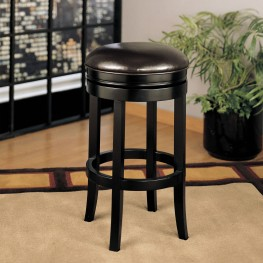 "404 30"" Backless Swivel Barstool In Brown Bonded Leather"