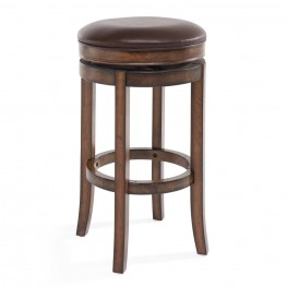 "Armen Living MBS-404 30"" Bar Height Swivel Wood Backless Barstool in Chestnut Finish and Kahlua Pu"