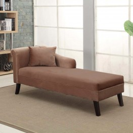 Patterson Chaise In Brown Velvet Fabric