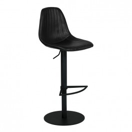 Melrose Adjustable Metal Barstool in Vintage Black Faux Leather with Black Powder Coated Finish