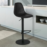 Armen Living Melrose Adjustable Metal Barstool in Vintage Black Faux Leather with Black Powder Coated Finish