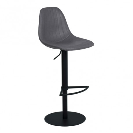 Armen Living Melrose Adjustable Metal Barstool in Vintage Gray Faux Leather with Black Powder Coated Finish