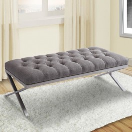 Milo Bench in Brushed Steel finish with Gray Fabric upholstery
