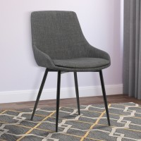 Armen Living Mia Contemporary Dining Chair in Gray Fabric with Black Powder Coated Metal Legs