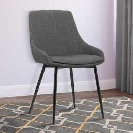 Mia Contemporary Dining Chair in Gray Fabric with Black Powder Coated Metal Legs