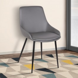 Mia Contemporary Dining Chair in Gray Faux Leather with Black Powder Coated Metal Legs