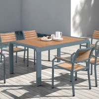 Armen Living Minsk Outdoor Patio Dining Table in Gray Powder Coated Finish with Teak Wood Top