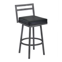 "Armen Living Moniq 30"" Bar Height Metal Swivel Barstool in Ford Black Faux Leather and Mineral Finish"