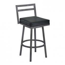 "Moniq 30"" Bar Height Metal Swivel Barstool in Ford Black Faux Leather and Mineral Finish"